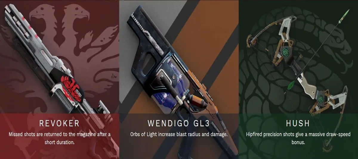Desitny 2 Season 7 Pinnacle Weapons