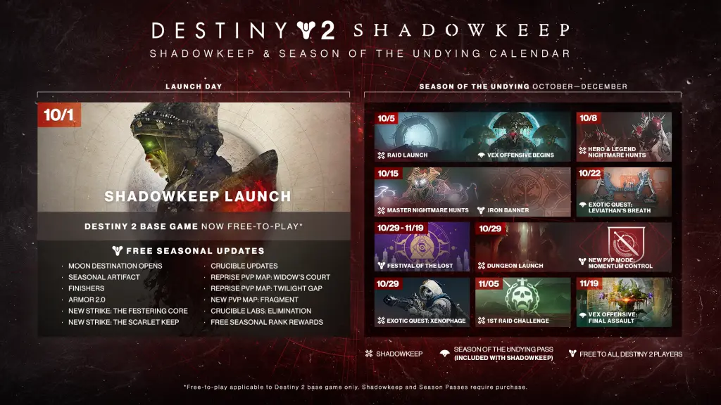 Destiny 2 Calendar Shadowkeep